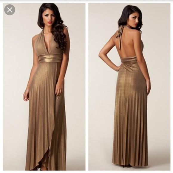 bebe Dresses & Skirts - Bebe Metallic Halter Gown